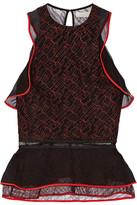 Jonathan Simkhai Ruffled Silk Chiffon-trimmed Lace Peplum Top - Black