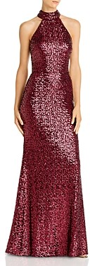 Aqua Sequin Mock Neck Gown - 100% Exclusive