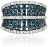 Effy Jewelry Effy Bella Bleu 14K White Gold Blue and White Diamond Ring, 1.32 TCW