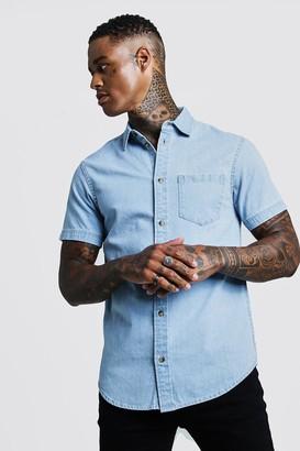 boohoo Mens Blue Short Sleeve Denim Shirt, Blue