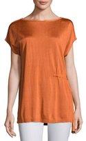 Lafayette 148 New York Radiant Shimmer Short-Sleeve Sweater w/ Tie-Waist Detail