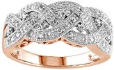 1/8 Carat T.W. Diamond Rhodium-Plated Sterling Silver Scalloped Woven Ring