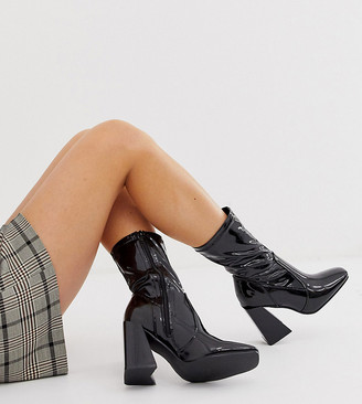 Truffle Collection wide fit square toe heeled boots in black