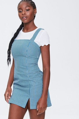 Forever 21 Striped Pinafore Dress
