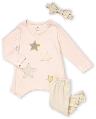 Mikey & Lottie (Infant Girls) 3-Piece Star Top & Ruched Pants Set