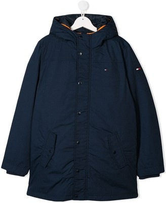Tommy Hilfiger Junior embroidered logo hooded coat