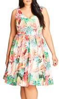 City Chic Plus Size Women's Floral Print Fit & Flare Dress