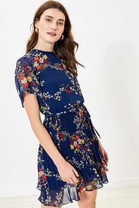 Oasis Womens Blue Floral Pleat Skater Dress - Blue