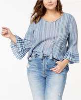 Style&Co. Style & Co Plus Size Striped Bell-Sleeve Peasant Top, Created for Macy's