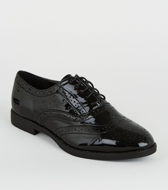 New Look Wide Fit Patent Lace Up Brogues