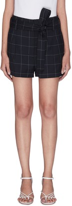 3.1 Phillip Lim Windowpane check belted shorts