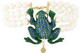 Tory Burch frog pendant pearl necklace