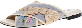 Fendi Multicolor Crisscross Knit Bow Flat Slides Size 37