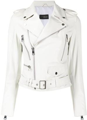Manokhi Belted Multi-Pocket Biker Jacket