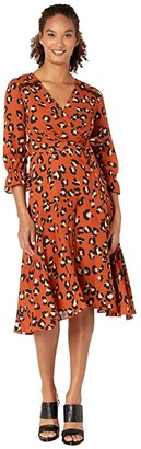 Tahari ASL Petite 3/4 Sleeve Animal Print Double GGT Faux Wrap (Spiced Leopard) Women's Dress