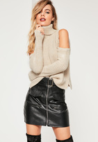 Missguided Cold Shoulder Turtle Neck Slouchy Sweater Nude