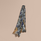 Burberry British Seaside Print Cotton Cashmere Scarf