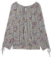 Lucky Brand Print Smocked Peasant Top