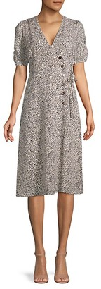ASTR the Label Animal-Print Wrap Midi Dress