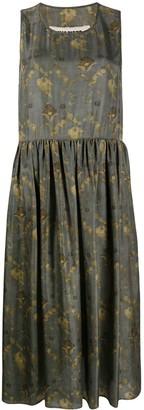 UMA WANG Floral Print Silk Midi Dress