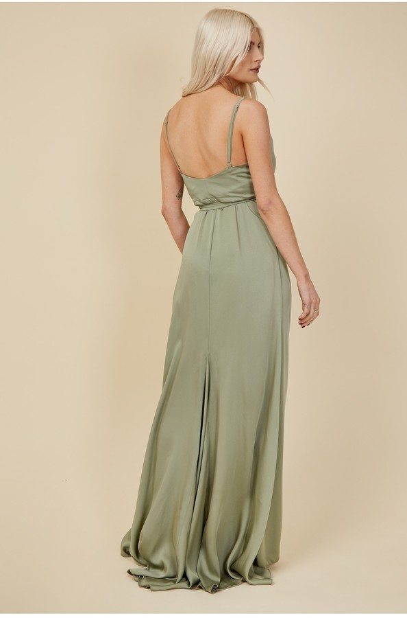 Thumbnail for your product : Little Mistress Bridesmaid Ayla Waterlily Satin Wrap Dress