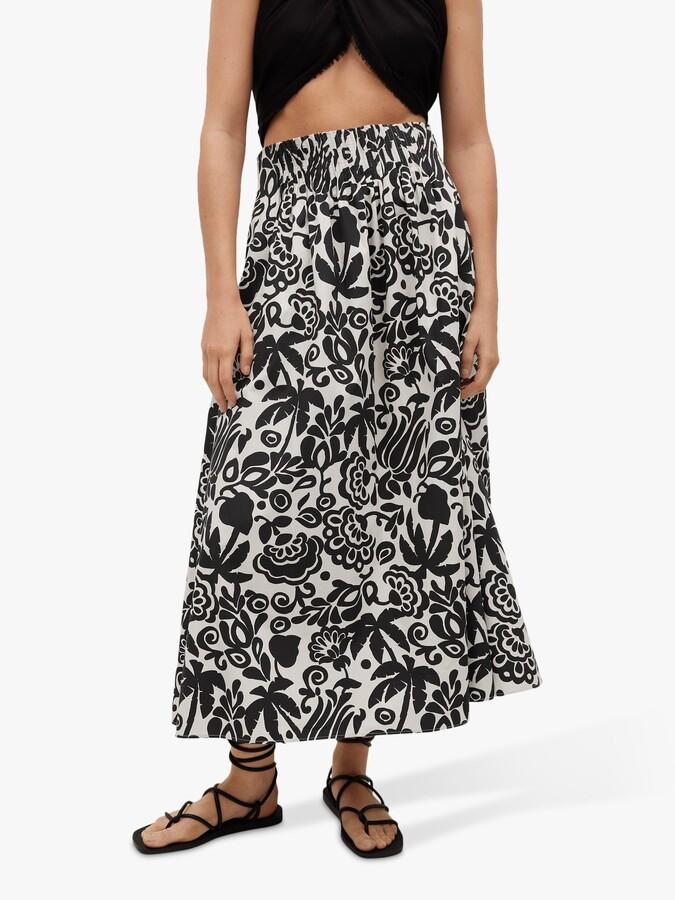 Thumbnail for your product : MANGO Floral Print Pleat Detail Maxi Skirt, Black/White
