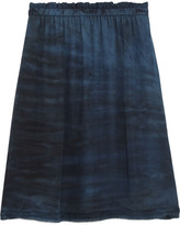 Raquel Allegra Tie-dyed Silk-georgette Mini Skirt - Midnight blue