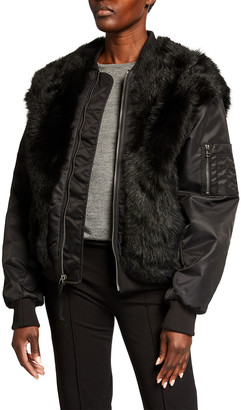 Mr & Mrs Italy Shearling Fur Bomber Jacket