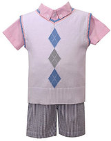 Matt's Scooter Baby Boys 12-24 Months Argyle Vest, Solid Woven Shirt & Chambray Shorts Set