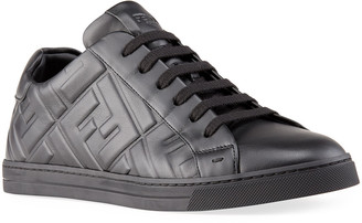 Fendi Men's Macro FF Napa Leather Low-Top Sneakers