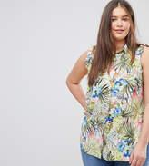 Koko Tropical Shirt With Frill Shoulder