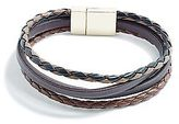 GUESS Men's Gold-Tone Faux-Leather Cuff
