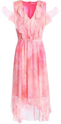 Elie Tahari Cold-shoulder Printed Crinkled Silk-georgette Dress