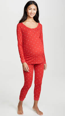 Plush Heart Under Belly Maternity PJ Set