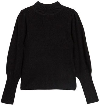 Lush Mock Neck Puff Long Sleeve Pullover Sweater