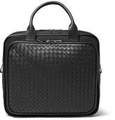 Bottega Veneta Intrecciato Leather And Canvas Carry-on Bag - Black