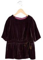 Bonpoint Girls' Ruched Velvet Dress