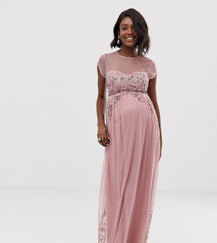Maya Maternity all over premium embellished mesh cap sleeve maxi dress in vintage rose