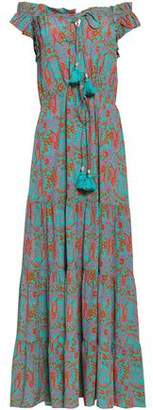 Figue Off-the-shoulder Printed Silk Crepe De Chine Maxi Dress