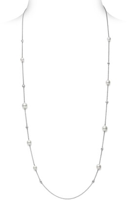 Mikimoto Japan Collections Pearl & Diamond Station Necklace