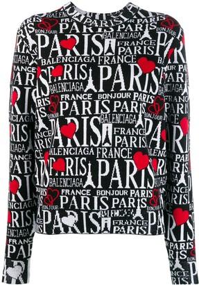 Balenciaga Bonjour Paris crew neck jumper