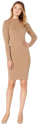 Lauren Ralph Lauren Cotton-Blend Sweater Dress (Classic Camel) Women's Dress