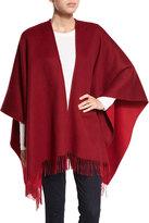 Neiman Marcus Reversible Wool Ruana Shawl, Bordeaux/Garnet Red