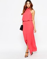 Warehouse Split Front Halter Maxi Dress