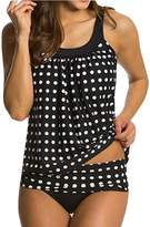 Eternatastic Women's Retro Polka Dot Tankini Swimwear Swimsuit XL