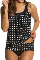 Eternatastic Women's Retro Polka Dot Tankini Swimwear Two Pieces Swimsuit Set Purple XL