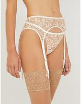 Myla Columbia Road floral-embroidered mesh suspender belt