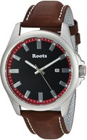 Roots Men's 'Core' Quartz Stainless Steel and Leather Casual Watch, Color:Brown (Model: 1R-LF410RE2C)