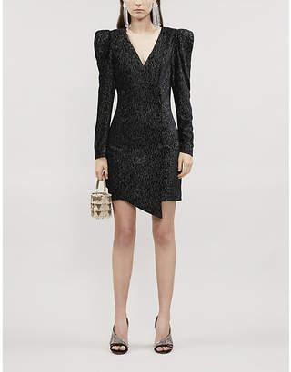 Lavish Alice V-neck double-breasted metallic velvet mini dress