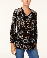 Style&Co. Style & Co Petite Embroidered Printed Peasant Top, Created for Macy's